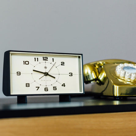 Newgate Clocks Wideboy Mantel Alarm Clock, Black with White Clock Face