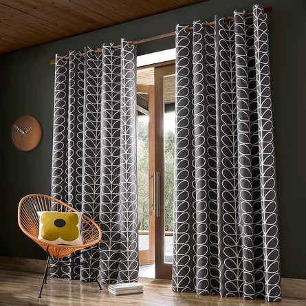 Orla Kiely Linear Stem Eyelet Curtains, Charcoal