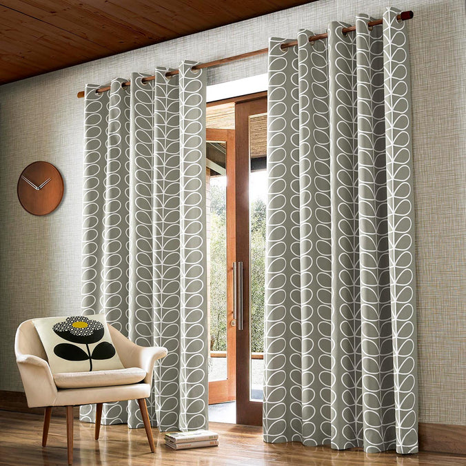 Orla Kiely Linear Stem Eyelet Curtains, Silver