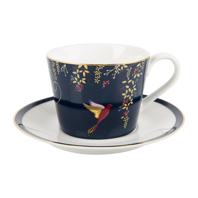 Sara Miller Chelsea Collection Hummingbird Tea Cup & Saucer  - Navy 0.20L