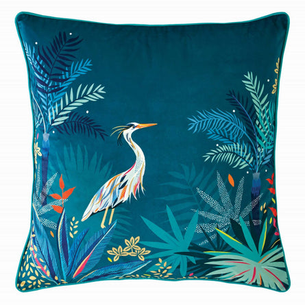 Sara Miller Heron Teal Cushion, 50x50cm