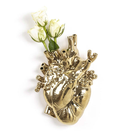 Seletti Love in Bloom Gold, Porcelain Heart Vase