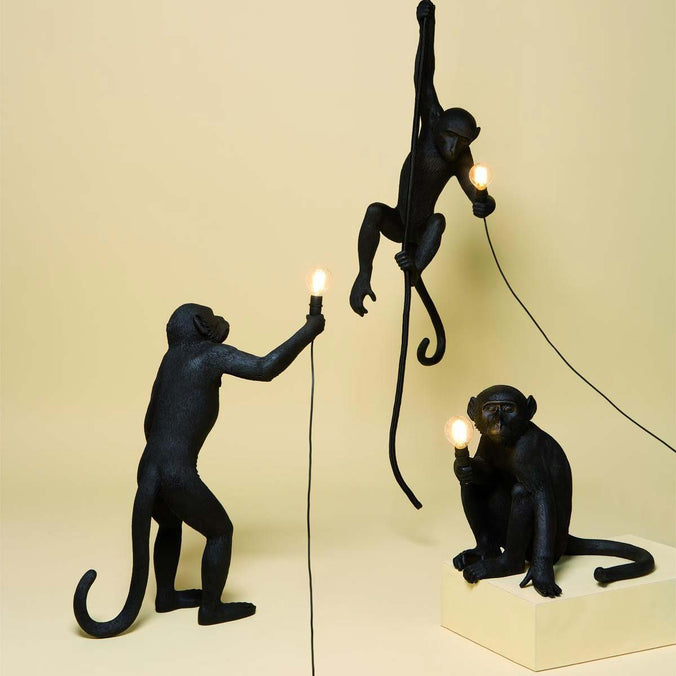 Seletti Primate Lighting Monkey Lamps, Black (Indoor/ Outdoor)