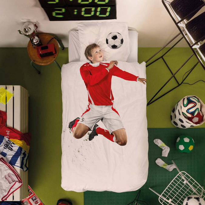Snurk Football Champ Red Duvet Set, Single 135x200cm