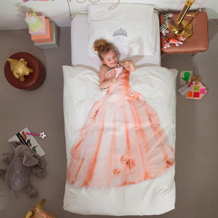 Snurk Princess Pink Duvet Cover & 1 Pillowcase Set, Single 135x200cm