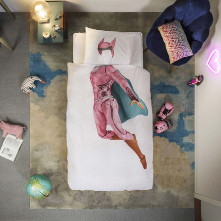 Snurk SuperHero Pink Duvet Set, Single 135x200cm
