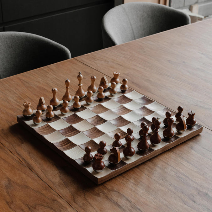 Umbra Wobble Chess Set, Walnut
