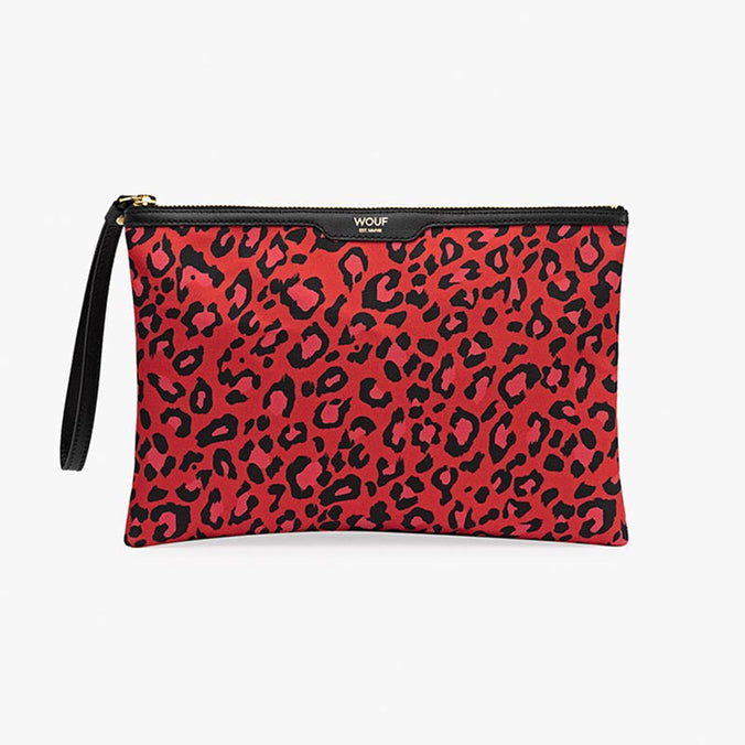 Wouf Night Clutch Bag, Satin Red Leopard