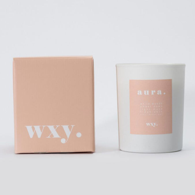 WXY skin. scented candle, White Woods & Amber Down