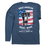 Great American Irons Work - Long Sleeve Dusky Blue