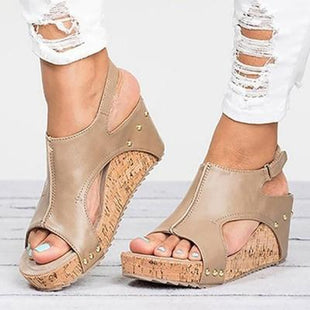 Women Summer Peep Toe Blocking Hook-Loop Wedge Sandals