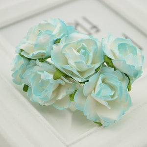 6pcs Cheap Paper Rose Artificial Flowers scrapbooking For wedding car decoration handicraft DIY Gift box wreath material fake
