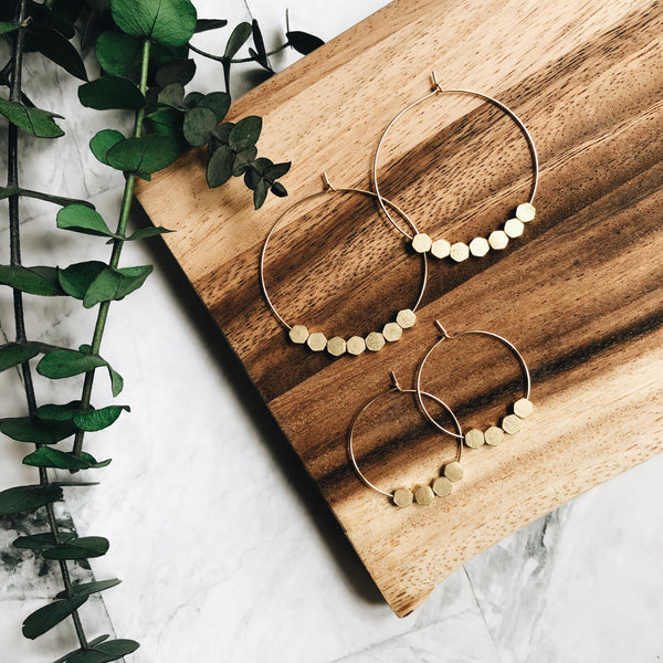 gold + brass hexagon beaded hoops