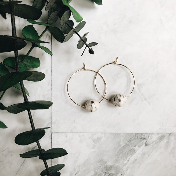 small gold + paper bead hoops