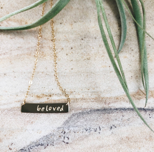 "gold bar necklace stamped ""beloved"""