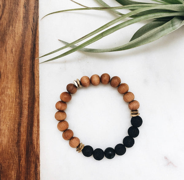 sandalwood and lava rock beaded bracelet