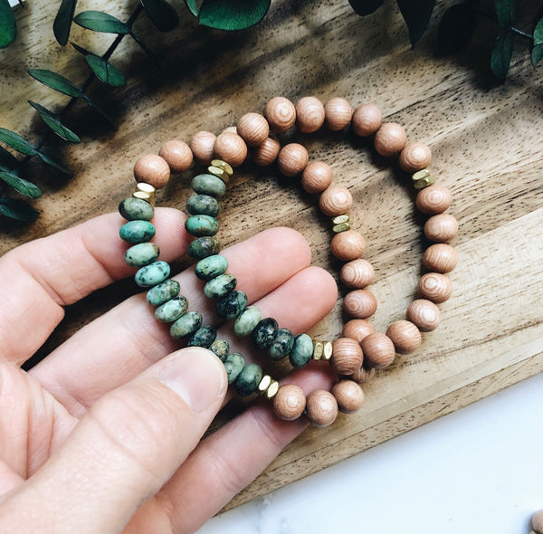 african turquoise + rosewood diffuser bracelet