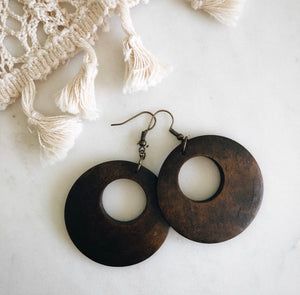 boho walnut earrings