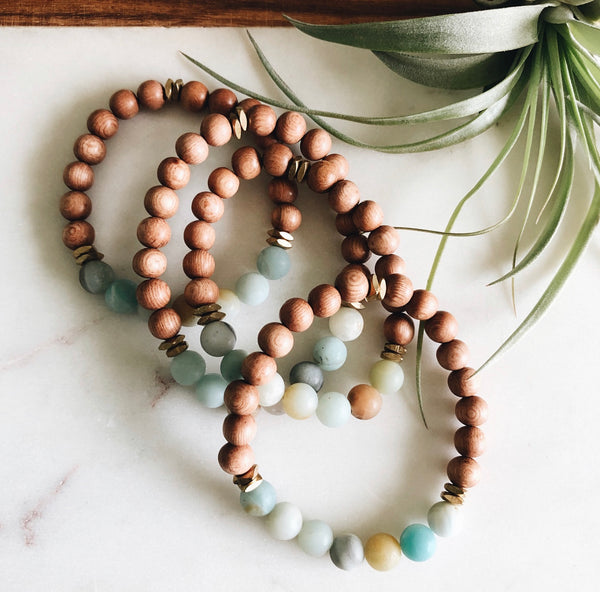 amazonite and rosewood diffuser bracelets