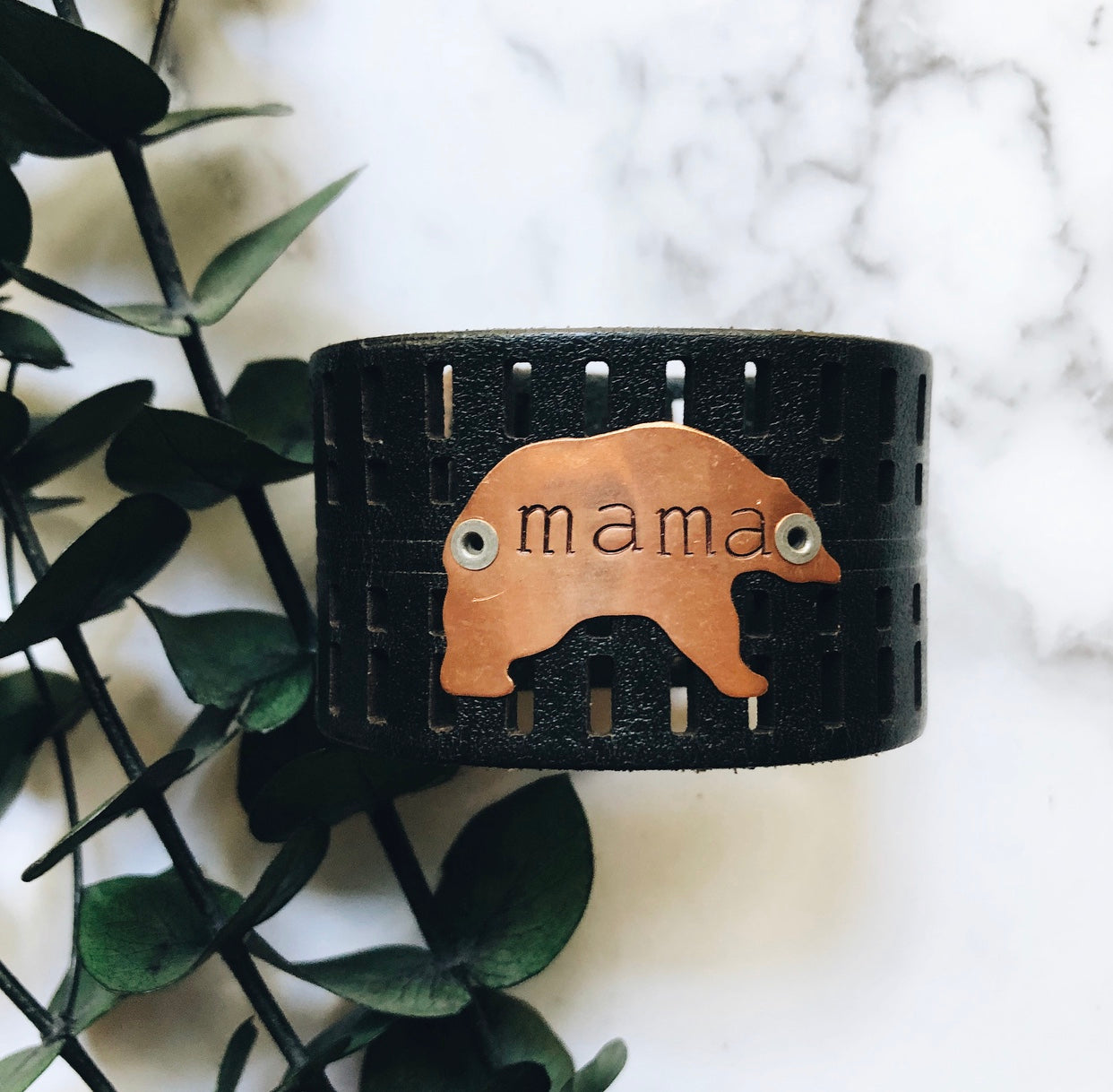 """mama bear"" leather cuff"