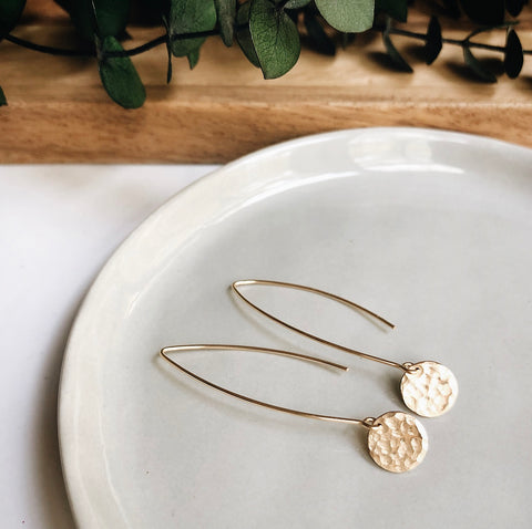 long leaf hammered coin earrings