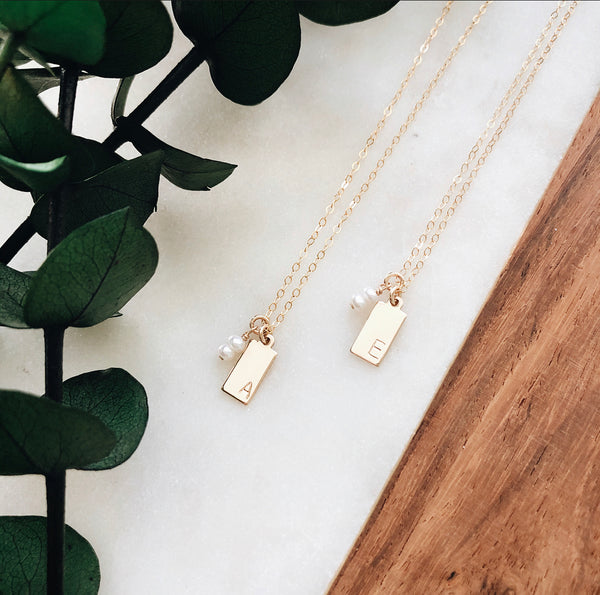 gold + pearl initial necklace