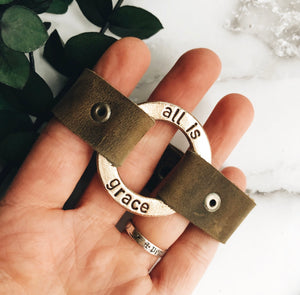 ready-to-ship brass ring leather cuff