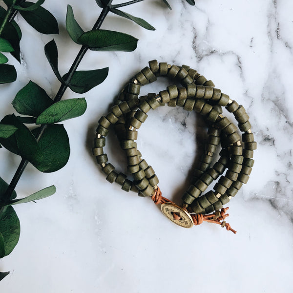 olive mykonos leather wrap bracelet