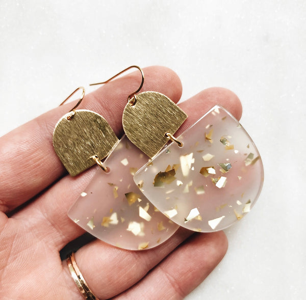 brushed brass + acrylic earrings