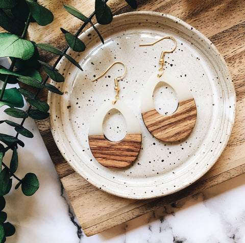 resin + wood teardrop earrings