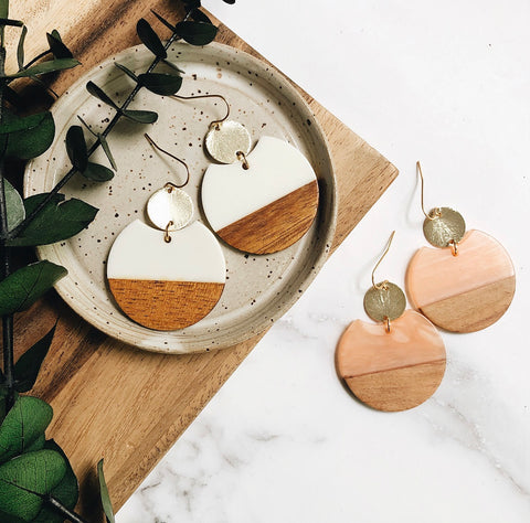 gold + resin + wood earrings
