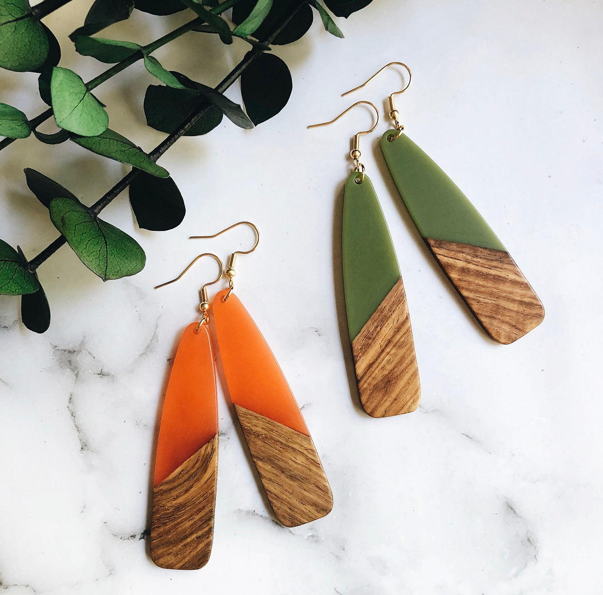resin + wood paddle earrings