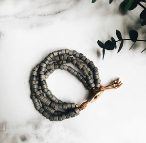 gray mykonos leather wrap bracelet