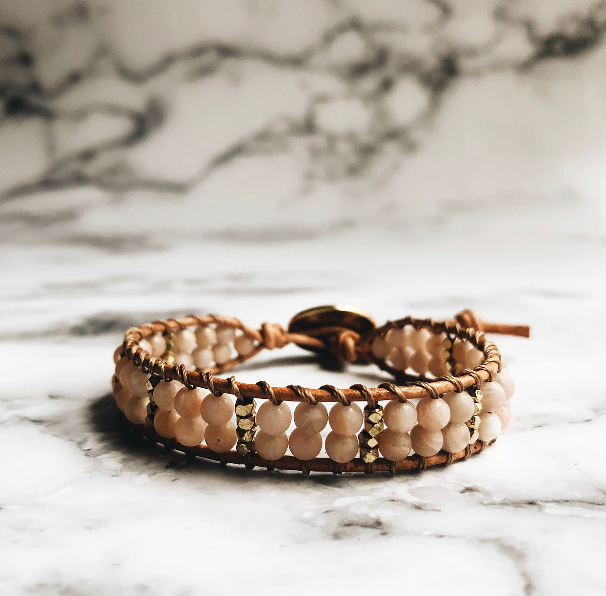 sunstone + leather wrap bracelet