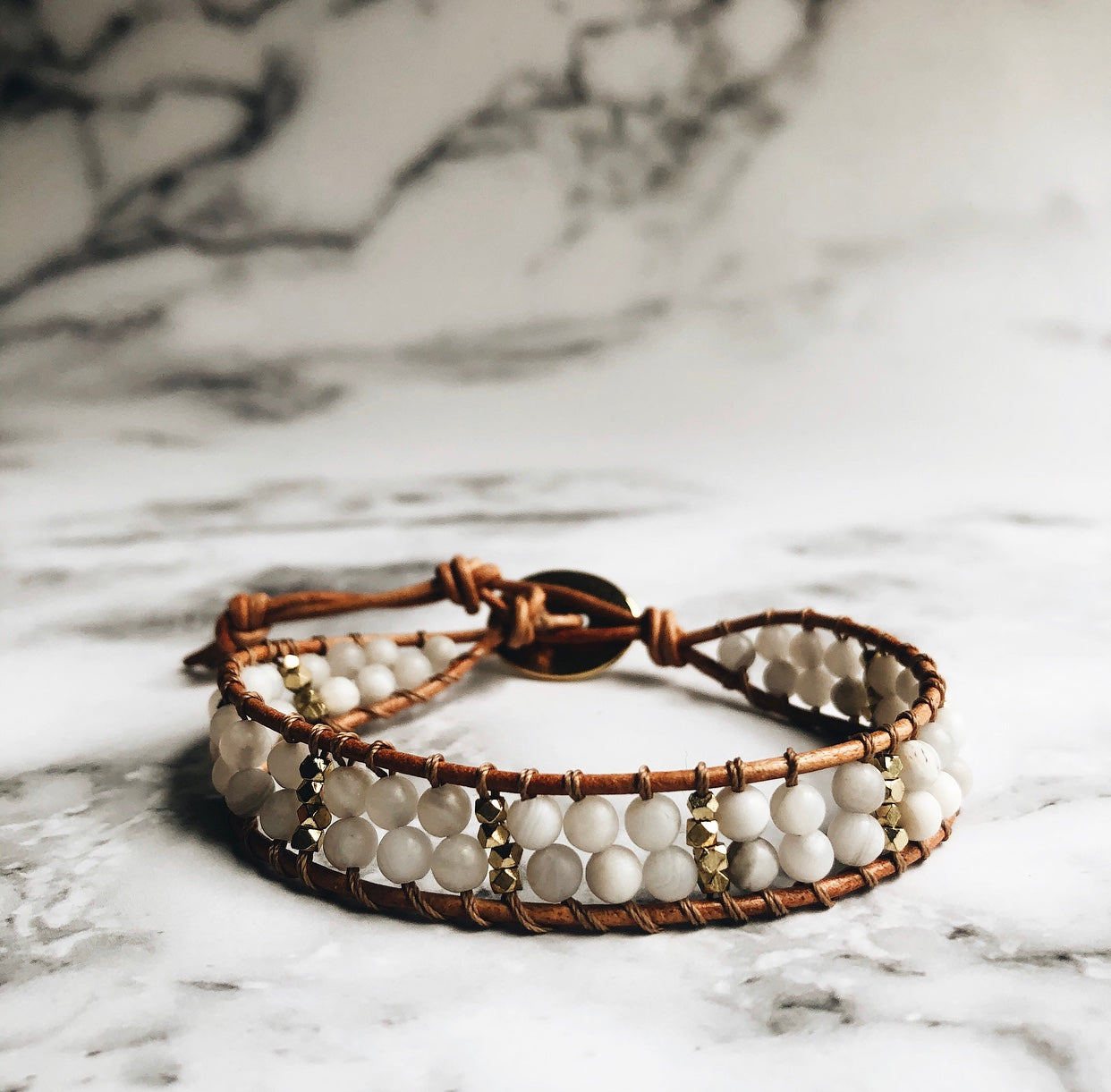 agate + leather wrap bracelet