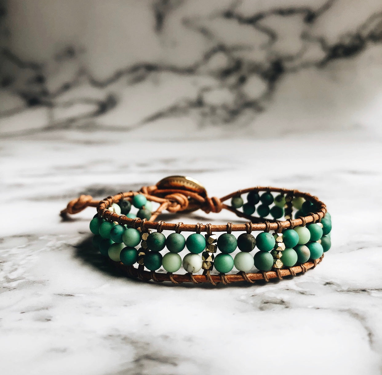 chrysoprase + leather wrap bracelet