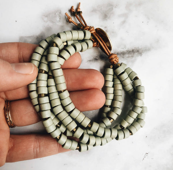 sage mykonos leather wrap bracelet