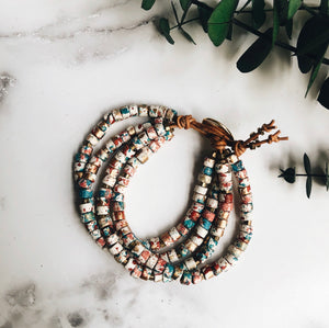 confetti mykonos leather wrap bracelet