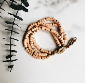 peach mykonos leather wrap bracelet