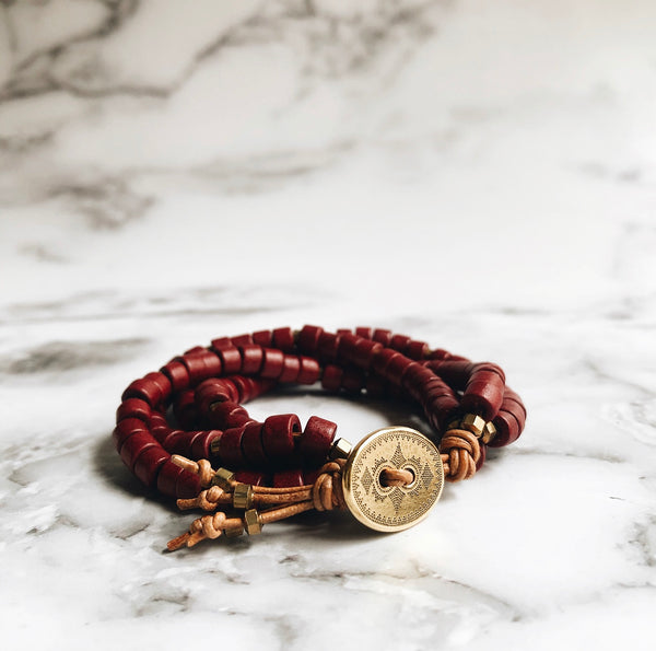 wine mykonos leather wrap bracelet