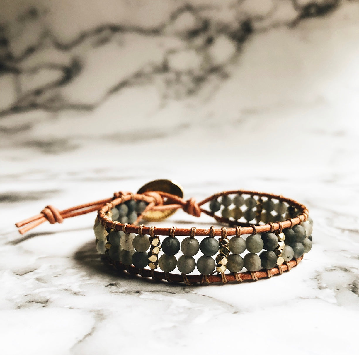 labradorite + leather wrap bracelet