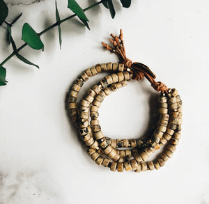 ash wood mykonos leather wrap bracelet