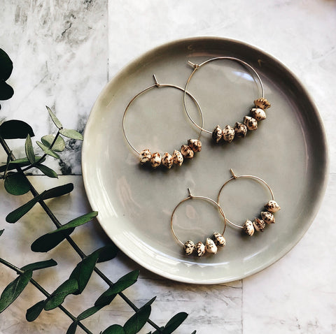 gold + salwag nut beaded hoops