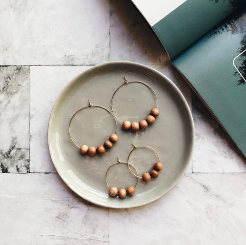 gold + rosewood beaded hoops