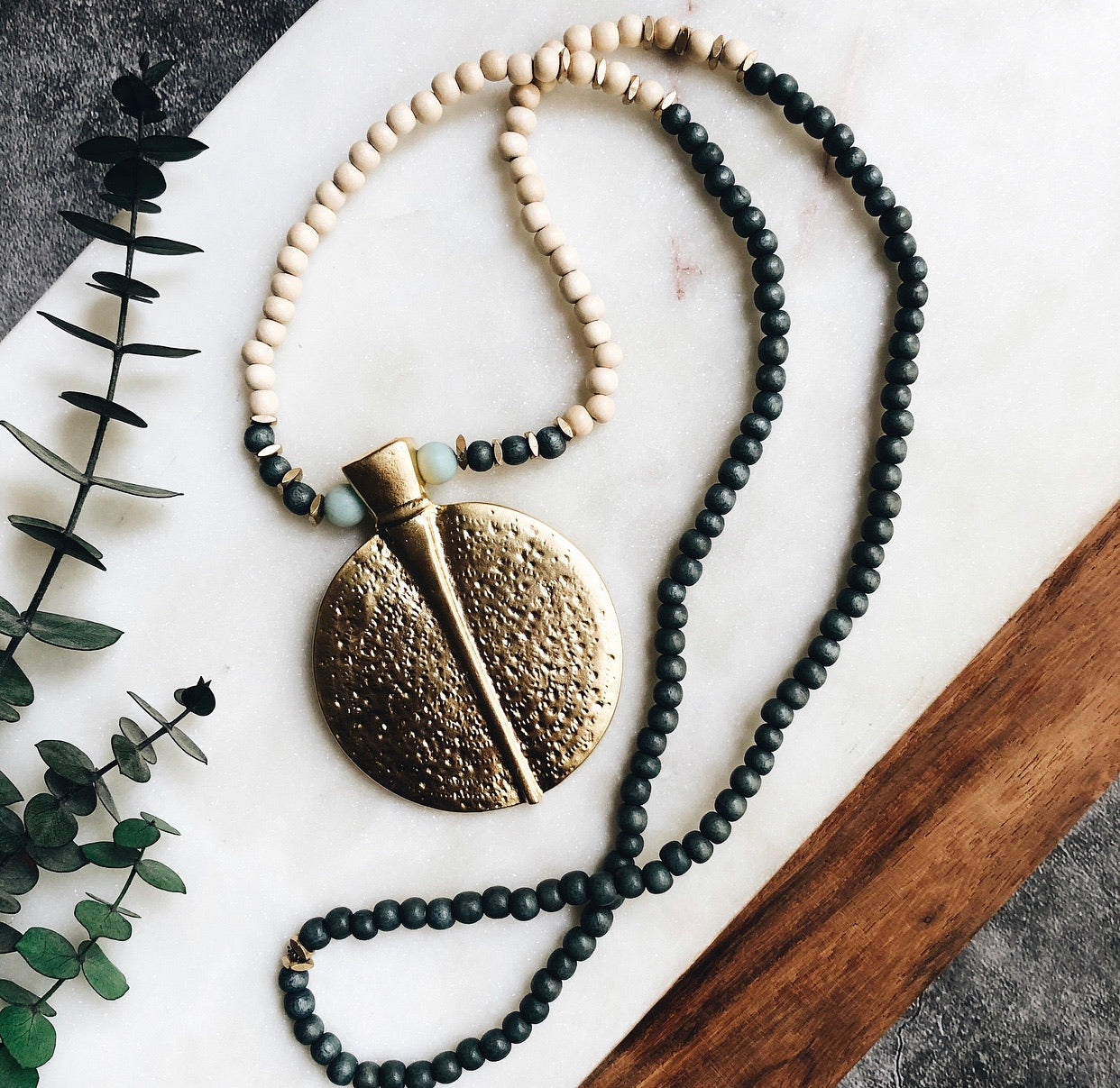 wood + gold shield necklace