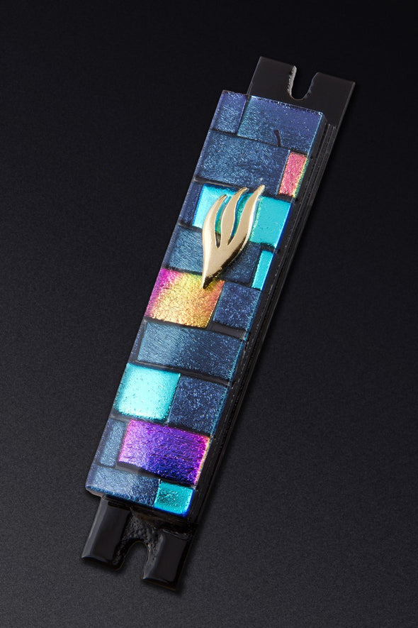 Purple and Multi Color Brick Glass Mezuzah by Daryl Cohen