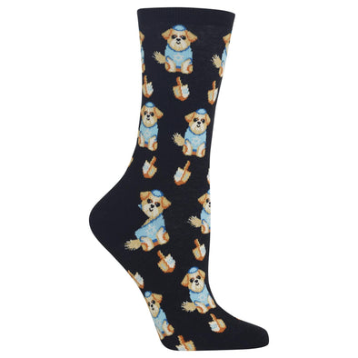 Hot Sox Socks Black / One Size Women's Dreidel Dog Crew Socks