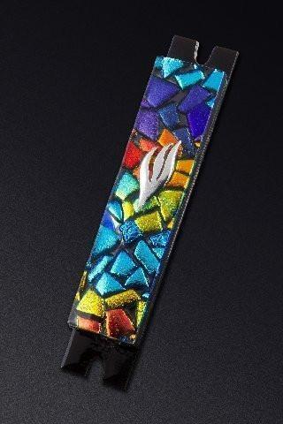 Mosaic Chips Rainbow Mezuzah by Daryl Cohen