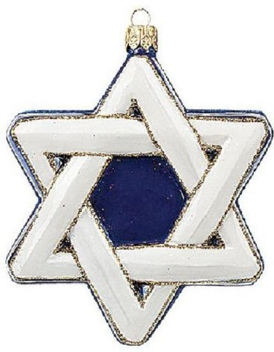 Star of David Glass Holiday Ornament