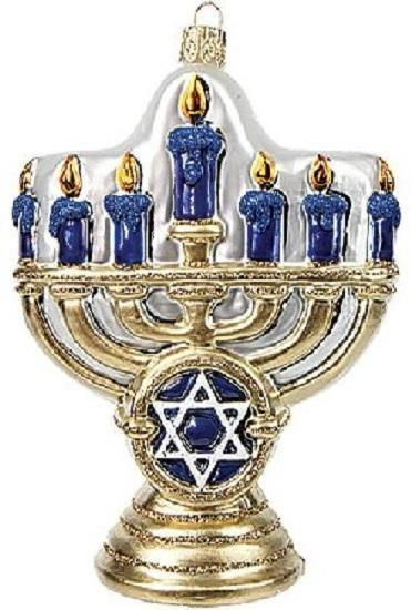 Menorah Glass Holiday Ornament
